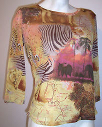 ELCC Erin London Top S African Safari Print Stretch Knit Casual Pullover Shirt S | TOURISM CONTENT CURATOR | Scoop.it