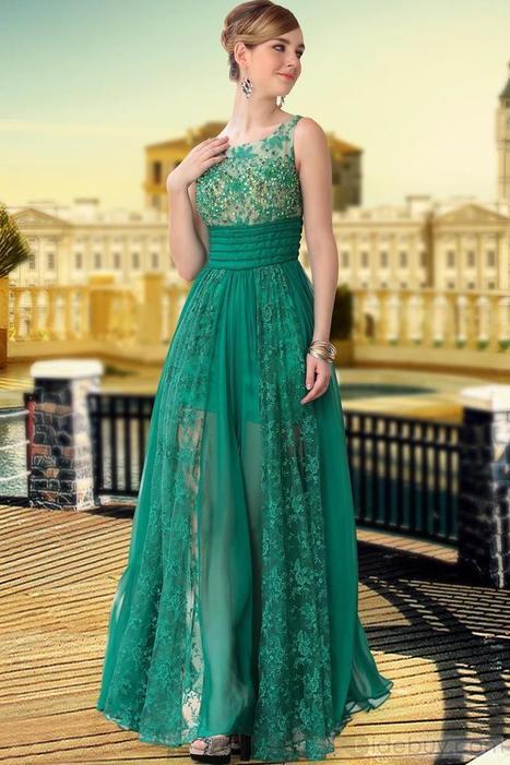 Fresh A-Line Floor-Length Lace Empire Waist Evening Dress | fashion girl | Scoop.it