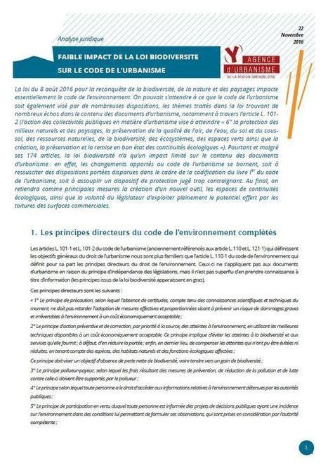 Grenoble - Faible impact de la loi Biodiversité sur le Code de l'urbanisme | Dernières publications des agences d'urbanisme | Scoop.it