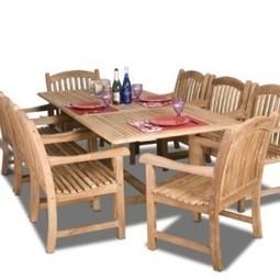 Amazonia Teak Newcastle 9-Piece Teak Rectangular Dining Set | Furniture Shoppy | Best Patio Furniture Sets | Scoop.it