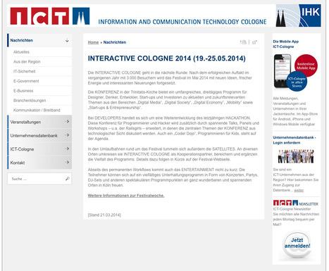 Industrie- und Handelskammer zu Köln :: INTERACTIVE COLOGNE 2014 (19.-25.05.2014)   Web de Cologne   Scoop.it