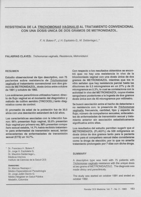 Resistencia de la trichomonas vaginalis al tratamiento convencional con una dosis única de dos gramos de Metronidazol. | botero | CES Medicina | Trichomonas vaginalis : Parásito número uno de transmisión sexual | Scoop.it
