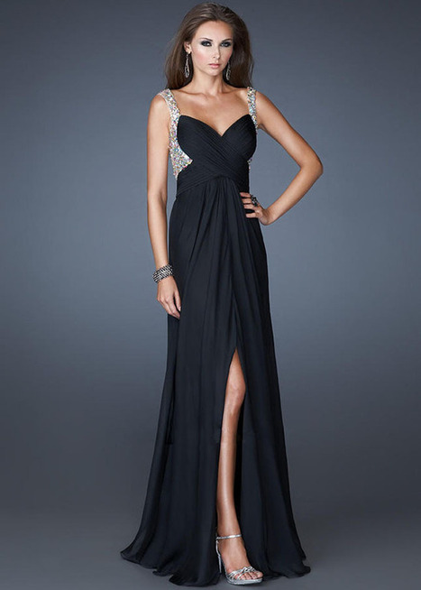 Black Low Back With Sheer Straps La Femme Evening Gown [La Femme 18541 Black] - $179.00 | Sexy | Scoop.it