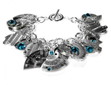 Steampunk Bracelet with Silver Watch Parts Turquoise Crystals | Steampunkerie | Scoop.it