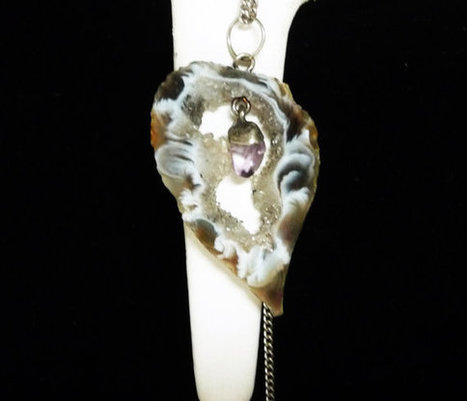 """Druzy Agate Geode Slice Pendant with Amethyst Center Drop - Vintage necklace & 23"""" Sterling Silver Chain 