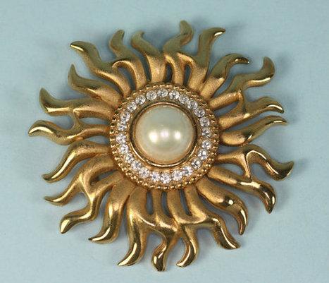 Vintage Sunburst Brooch Glass Pearl Rhinestones   vintage jewelry   Scoop.it