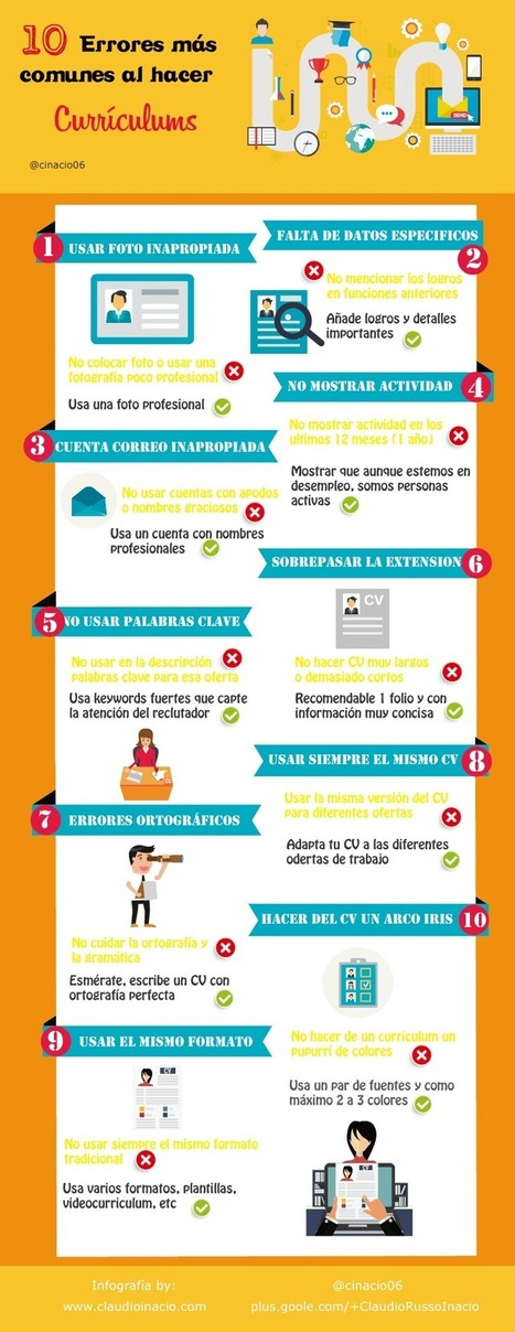 Los 10 mayores errores que no debes cometer en tu Curriculum | Redes Sociales, Community Manager | Scoop.it