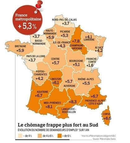 Chômage : des disparités  entre les régions françaises | LYFtv - Lyon | Scoop.it