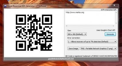 QRGen: Aplicacion portable para generar codigos QR - Marlex Systems   VIM   Scoop.it