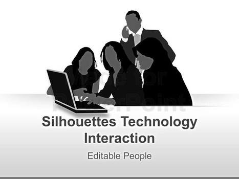 People Silhouette and Technology Interaction PowerPoint Template | Editable & Ready-to-use PPT slides (information, maps, graphs, data) | Scoop.it