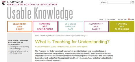 Teaching For Understanding Project Organizer | Specialized Instruction | Scoop.it