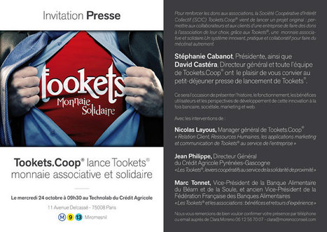 Invitation presse : lancement de Tookets, monnaie associative et solidaire (Paris, 24 Octobre) | partage&collaboratif | Scoop.it