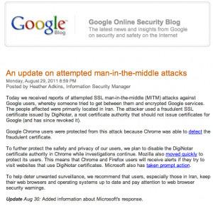 Certificats SSL DigiNotar : L'Iran à l'origine d'une opération d'espionnage informatique.   Sécurité des systèmes d'Information   Scoop.it