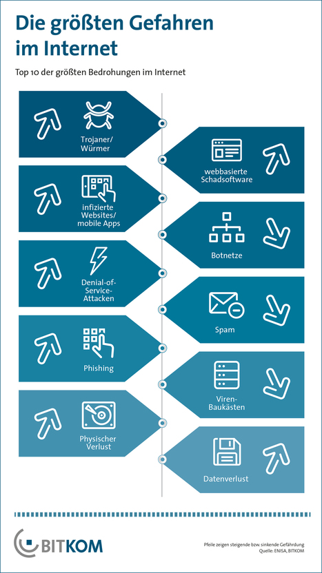 Die zehn größten Gefahren im Internet (BITKOM-Grafik) | Digital CitiZENship | eSkills | Data Visualization, Information Design & Infographics | Scoop.it