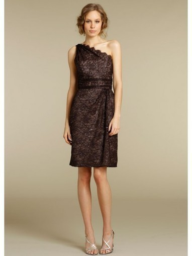Lace Sheath One-Shoulder Sleeveless Draped Knee Length Chocolate Cocktail Dresses LBS1120 - Prom Dress Online Shop | prom dress | Scoop.it