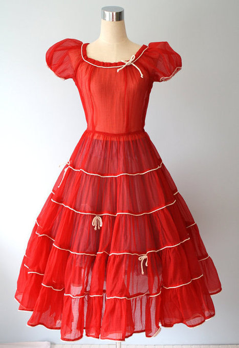1950s Dress // Vintage Sheer Red Party Dress // by FoxyBritVintage | wedding and event | Scoop.it