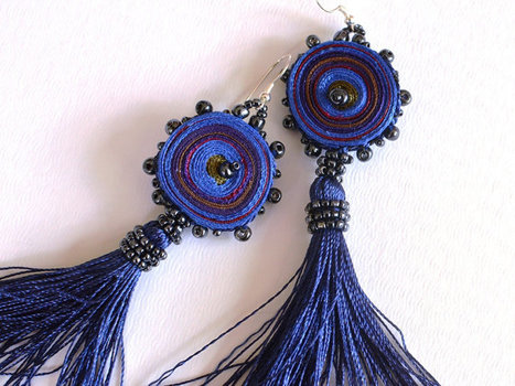 Textile Earrings Original Blue  And Red One Of A Kind Ready To Ship | RED ONE | Scoop.it