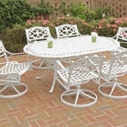Home Styles 5552-335 Biscayne 7-Piece Outdoor Dining Set with Oval Shape Table and Swivel Chair, White Finish, 72-Inch | Furniture Shoppy | Best Patio Furniture Sets | Scoop.it