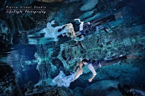 Colleen & Shane's Trash the Dress in a deep cenote – Riviera maya   Underwater Trash The Dress   Scoop.it