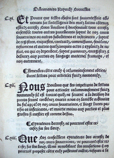 #ChallengeAZ : V comme Villers-Cotterêts - 25 août 1539, François 1er fonde l'état civil | Nos Racines | Scoop.it
