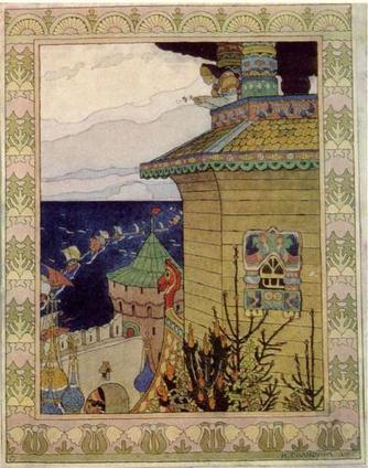 """Princess in the prison tower. Illustration of the Russian fairy tale """"The White duck"""" - Ivan Bilibin - WikiPaintings.org 