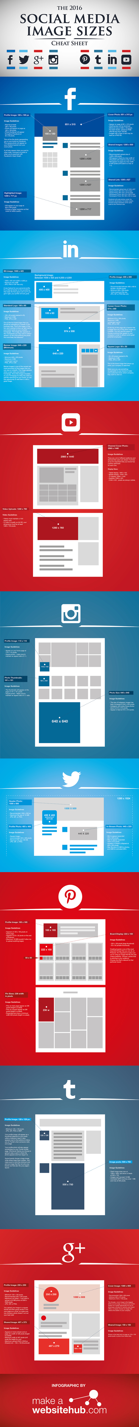 2016 Social Media Image Sizes Cheat Sheet | Digital and Graphic Design Tips, Tools and Tricks in Higher Education | Scoop.it