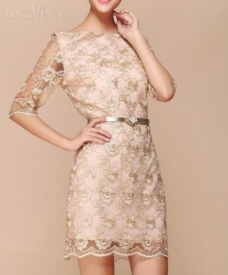 New Fashion Half Transparent Sleeves  Mini Length Lace Dress with Belt | I liked | Scoop.it
