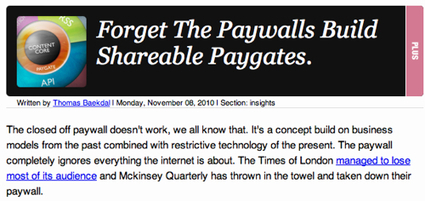 Paywalls: something fresh is on the air (write this: shareable paygate) | Technoculture | Scoop.it
