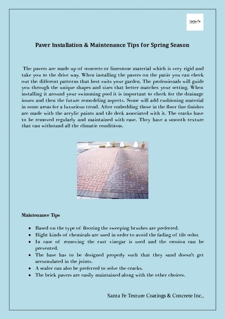 Installation & Maintenance Tips for Pavers this Spring Season | Driveway Paver Color Coating & Maintenance | Scoop.it