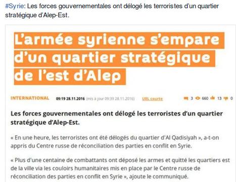 Syrie: Les forces gouvernementales ont délogé les terroristes d'un quartier stratégique d'Alep-Est | World News | Scoop.it