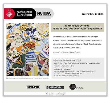 29 novembre, Conferència: El trencadís ceràmic. Punts de color a l'arquitectura | Agenda i novetats. CRP Sarrià-Sant Gervasi | Scoop.it