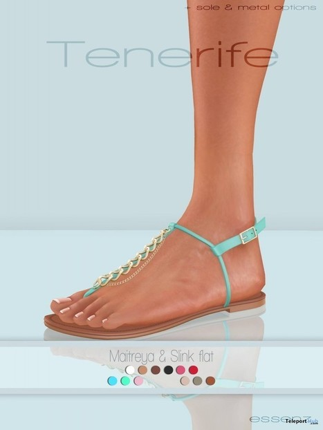 Tenerife Sandals Fatpack 3 for Maitreya and Slink Feet Gift by Essenz   Teleport Hub - Second Life Freebies   Second Life Freebies   Scoop.it