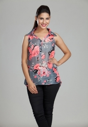 Find Best Discount Deals with Low Price on Designer Grey Print Sleeveless Top For Womens, Buy Grey Print Sleeveless Top With Fabric Buttons Online Only Rs- 999 At Best Online Shopping Designer Stor... | Buy  Women Shirts‎ on itibeyou.com | Scoop.it