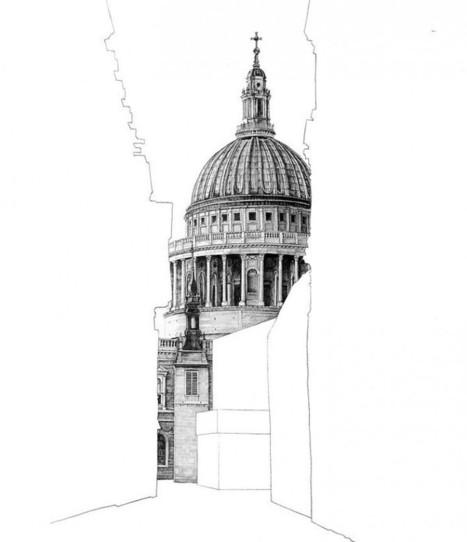 Des bâtiments masqués par des silhouettes blanches | graphic-design | Scoop.it