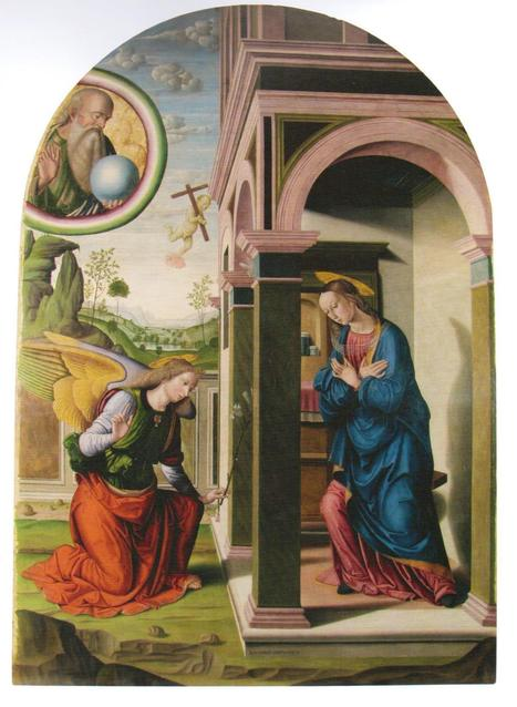 "The ""Annunciation"" painted  by Giovanni Santi, Raphael's father 