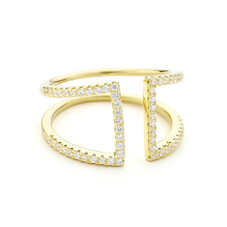 Crystal Pave Open Ring - Yellow Gold Vermeil | Games | Scoop.it