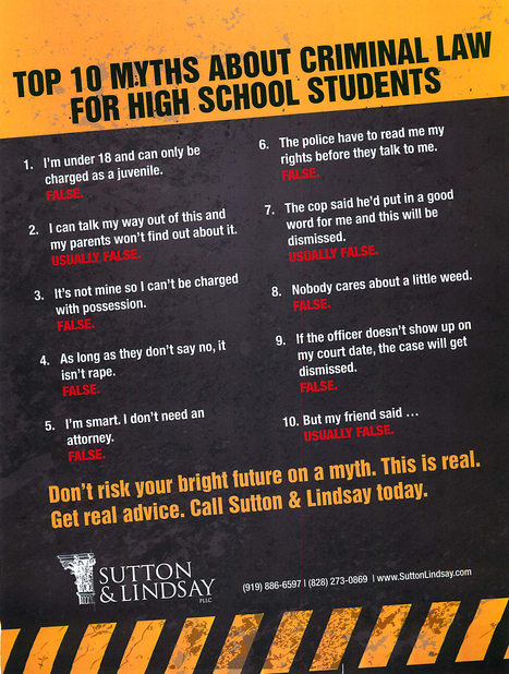 10 Myths About Criminal Law for NC High School Students | Defending Athletes & Students | Scoop.it