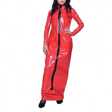 Floor-length Long Costume|Long Sleeve Red PVC Dress Costume|Floor-length Long Sleeve Red PVC Dress Cosplay Costume | Zentai Suits Cosplay | Scoop.it