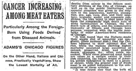 1907 New York Times Article Shows that Meat Causes Cancer.  A Century Later, Many People Still Haven't Heard the News   Plant Based Nutrition   Scoop.it