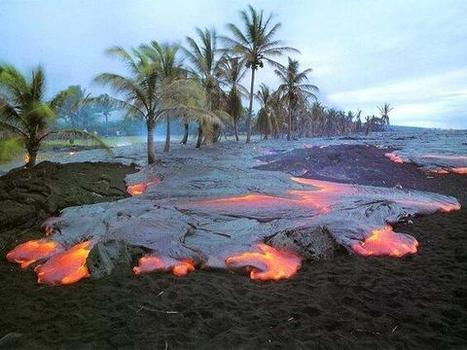 Twitter / ThatsEarth: Lava flows on the black beaches ... | Hawaii with Aloha | Scoop.it