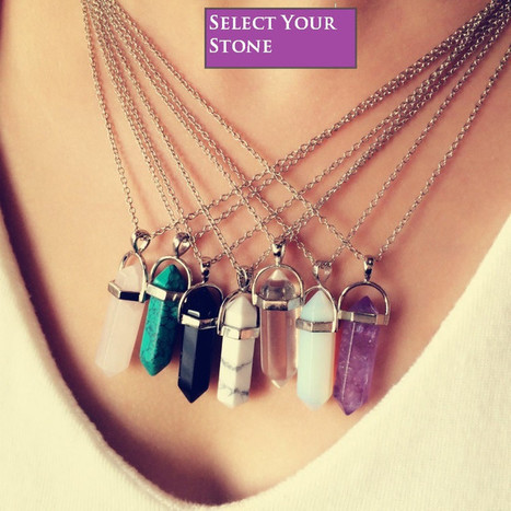 Quartz and Stone Pendant Necklace With Chain / Leather   Online Shopping   Scoop.it