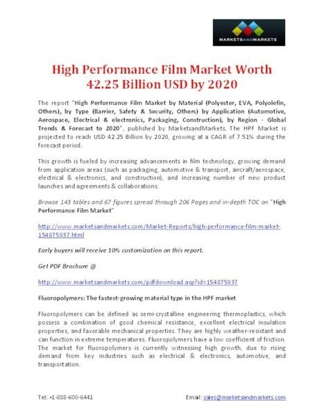 High Performance Film Market Worth 42.25 Billion USD by 2020 - PdfSR.com   Market Research Reports   Scoop.it