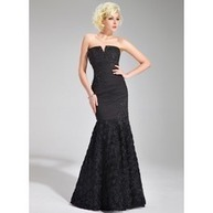 [R$ 346.38] Trompete/Sereia Decote V Chá comprimento De chiffon Vestido de festa com Pregueado Renda Bordado fecho de correr (017019679)   fantastic dresses   Scoop.it