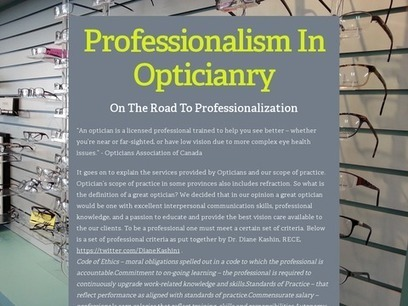 Professionalism In Opticianry | Visible Professional Opticianry | Scoop.it