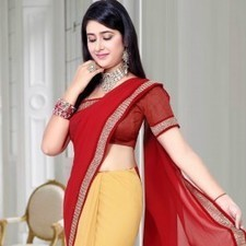 Red & Mustard Faux Georgette Saree | Strollay.com | Scoop.it