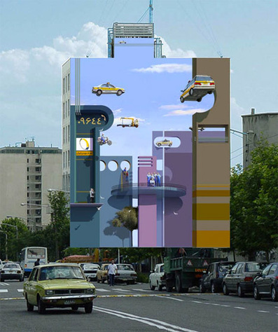 Illusions in Iran: Surreal 3D Murals Transform Urban Tehran | Urbanist | The brain and illusions | Scoop.it