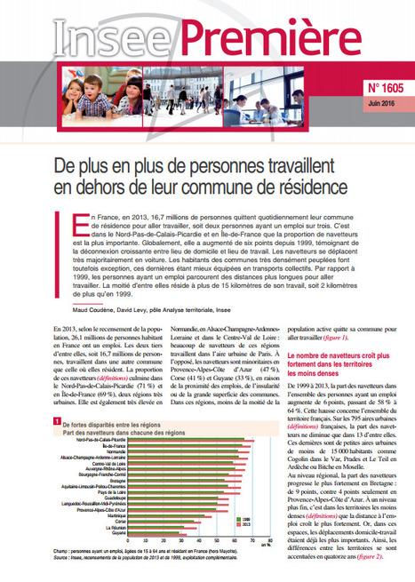 Insee > De plus en plus de personnes travaillent en dehors de leur commune de résidence | Observer les Pays de la Loire | Scoop.it