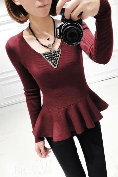 Wine Red/Black Long Sleeve Slim Knitwear | Dressve fashion | Scoop.it