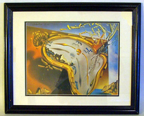 """Salvador Dali Framed Art Print Titled """"Soft Watch at the Moment of First Explosion"""" Circa 1954 