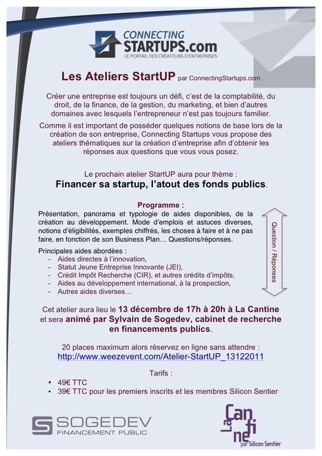 Atelier StartUP : Financer sa startup, l'atout des fonds publics | La Cantine Toulouse | Scoop.it